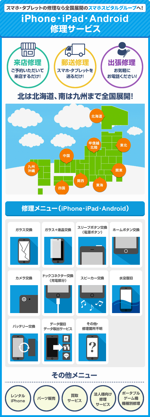 iPhone・iPad・Android 修理サービス